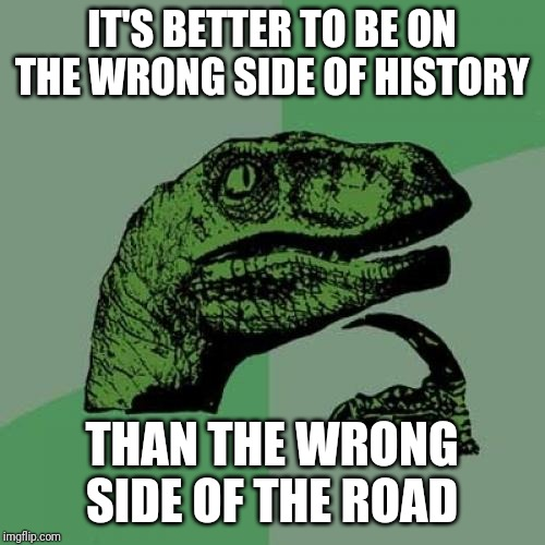 A Problem with Natural Selection |  IT'S BETTER TO BE ON THE WRONG SIDE OF HISTORY; THAN THE WRONG SIDE OF THE ROAD | image tagged in memes,philosoraptor,evolution,darwin | made w/ Imgflip meme maker