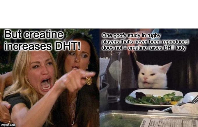 Creatine raises DHT! |  But creatine increases DHT! One goofy study in rugby players that's never been reproduced does not = creatine raises DHT lady | image tagged in memes,woman yelling at cat,creatine,testosterone,cool cat | made w/ Imgflip meme maker