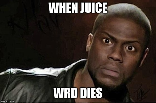 Kevin Hart |  WHEN JUICE; WRD DIES | image tagged in memes,kevin hart | made w/ Imgflip meme maker