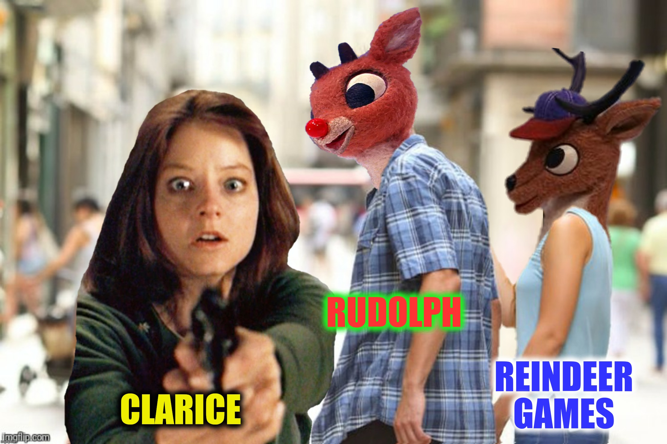 Bad Photoshop Sunday presents:  The Silence Of The Reindeer |  RUDOLPH; REINDEER GAMES; CLARICE | image tagged in bad photoshop sunday,rudolph the fed nosed reindeer,silence of the lambs | made w/ Imgflip meme maker