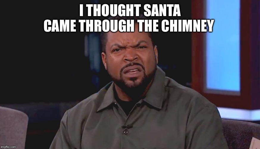 Really? Ice Cube | I THOUGHT SANTA CAME THROUGH THE CHIMNEY | image tagged in really ice cube | made w/ Imgflip meme maker