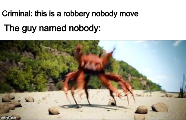 *walks out of bank* |  Criminal: this is a robbery nobody move; The guy named nobody: | image tagged in crab rave,nobody | made w/ Imgflip meme maker