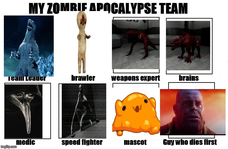 My Zombie Apocalypse Team | image tagged in my zombie apocalypse team,scp,laughing godzilla,thanos what did it cost | made w/ Imgflip meme maker