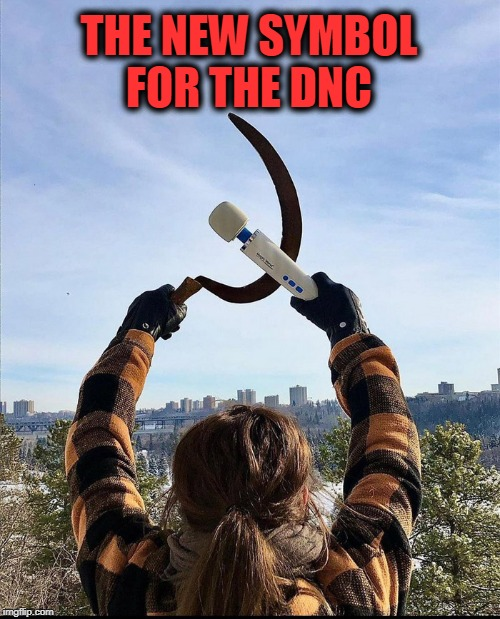 symbol |  THE NEW SYMBOL FOR THE DNC | image tagged in communism,vibrator,politics,dnc | made w/ Imgflip meme maker