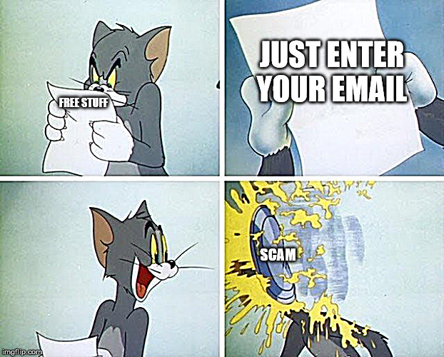 email |  JUST ENTER YOUR EMAIL; FREE STUFF; SCAM | image tagged in tom and jerry custard pie,scam,emails | made w/ Imgflip meme maker