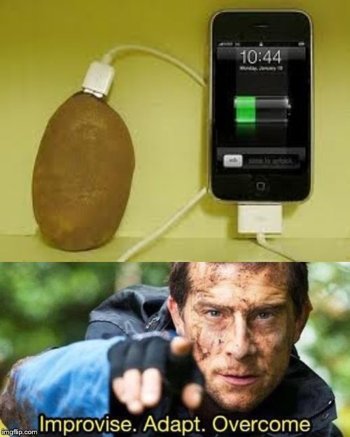 Always bring a potato everywhere! | image tagged in improvise adapt overcome,potato,i am a potato,much wow,tricks,smartphone | made w/ Imgflip meme maker