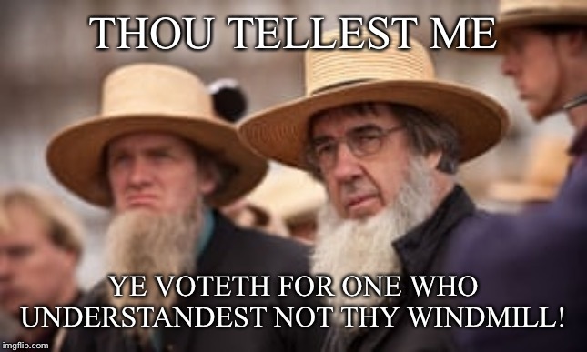 Amish Windmill |  THOU TELLEST ME; YE VOTETH FOR ONE WHO UNDERSTANDEST NOT THY WINDMILL! | image tagged in trump,donald trump,amish,windmill | made w/ Imgflip meme maker