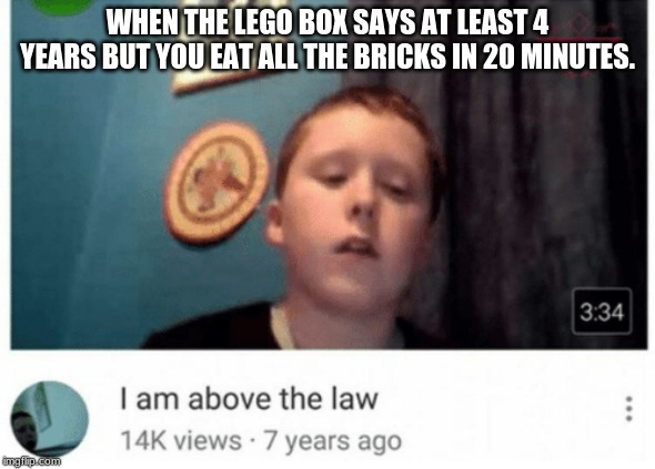 I am above the law |  WHEN THE LEGO BOX SAYS AT LEAST 4 YEARS BUT YOU EAT ALL THE BRICKS IN 20 MINUTES. | image tagged in i am above the law | made w/ Imgflip meme maker