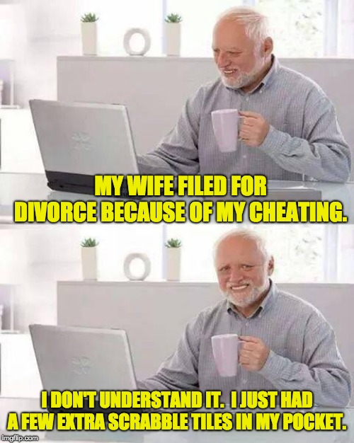 Hide the Pain Harold Meme | MY WIFE FILED FOR DIVORCE BECAUSE OF MY CHEATING. I DON'T UNDERSTAND IT.  I JUST HAD A FEW EXTRA SCRABBLE TILES IN MY POCKET. | image tagged in memes,hide the pain harold | made w/ Imgflip meme maker
