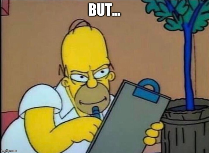 homer writing down | BUT... | image tagged in homer writing down | made w/ Imgflip meme maker