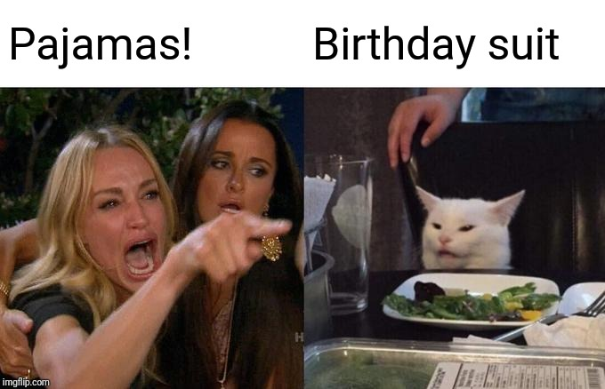 Woman Yelling At Cat Meme | Pajamas! Birthday suit | image tagged in memes,woman yelling at cat,pajamas,vs,naked,sleeping beauty | made w/ Imgflip meme maker