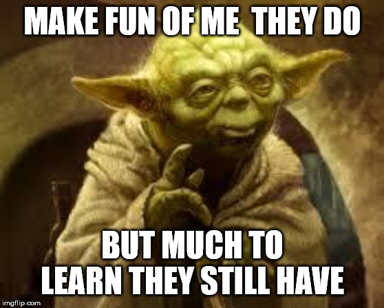yoda | MAKE FUN OF ME  THEY DO BUT MUCH TO LEARN THEY STILL HAVE | image tagged in yoda | made w/ Imgflip meme maker