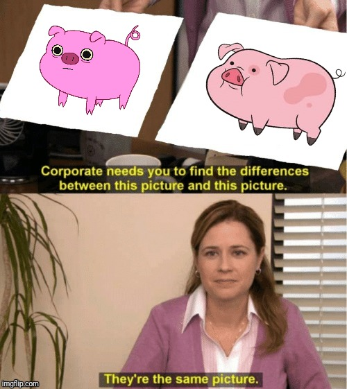 Waddles and Mr. Pig | image tagged in adventure time,gravity falls,cartoon,animation,the office,pigs | made w/ Imgflip meme maker