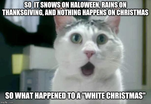 "NATURE IS CONFUSING | SO  IT SNOWS ON HALOWEEN, RAINS ON THANKSGIVING, AND NOTHING HAPPENS ON CHRISTMAS SO WHAT HAPPENED TO A ""WHITE CHRISTMAS"" 