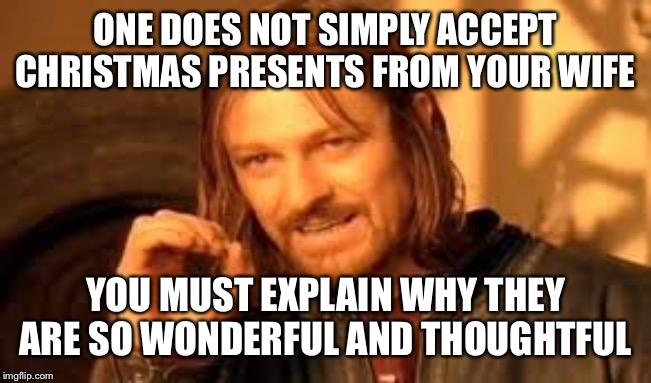 One does not simply blank | ONE DOES NOT SIMPLY ACCEPT CHRISTMAS PRESENTS FROM YOUR WIFE YOU MUST EXPLAIN WHY THEY ARE SO WONDERFUL AND THOUGHTFUL | image tagged in one does not simply blank | made w/ Imgflip meme maker