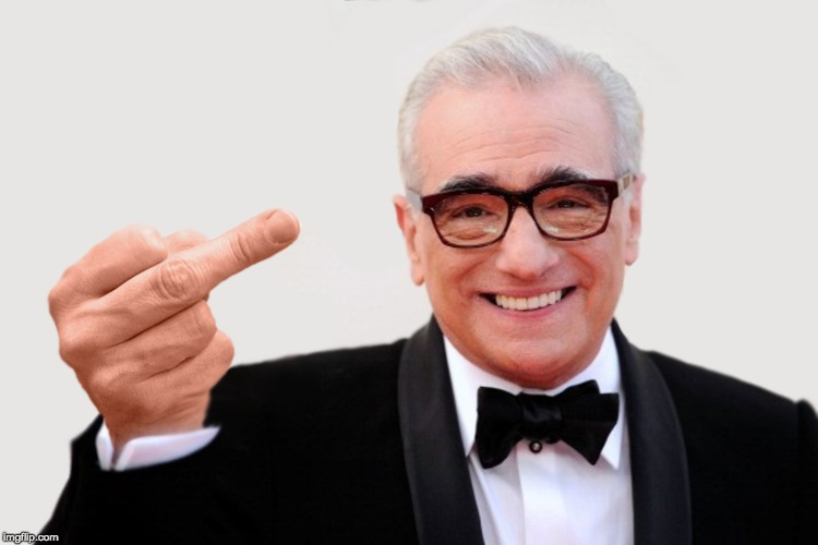 image tagged in scorsese,martin scorsese,bird,flip off | made w/ Imgflip meme maker