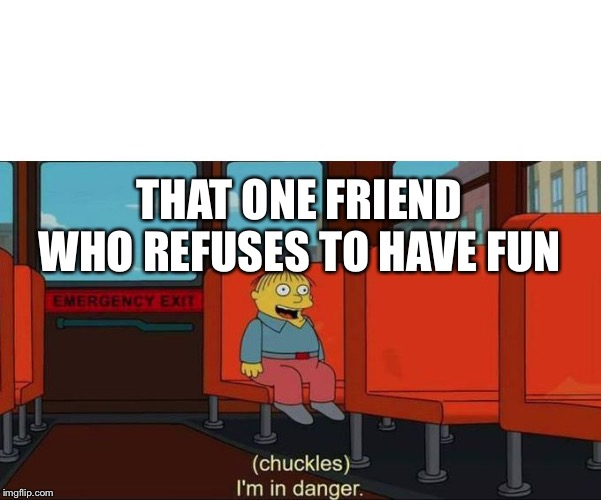 I'm in Danger + blank place above | THAT ONE FRIEND WHO REFUSES TO HAVE FUN | image tagged in i'm in danger  blank place above | made w/ Imgflip meme maker