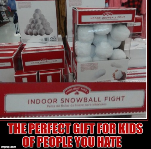 The Last Gift I gave my kids before they visited my Mother-In-Law |  THE PERFECT GIFT FOR KIDS          OF PEOPLE YOU HATE | image tagged in vince vance,snowball,fight,indoor,christmas presents,christmas gifts | made w/ Imgflip meme maker