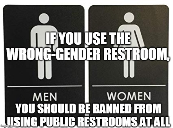 Little girls should not have to share the stalls with Effeme-Man | IF YOU USE THE WRONG-GENDER RESTROOM, YOU SHOULD BE BANNED FROM USING PUBLIC RESTROOMS AT ALL | image tagged in transgender,restroom,transgender bathroom,bathroom,gender,biological gender | made w/ Imgflip meme maker