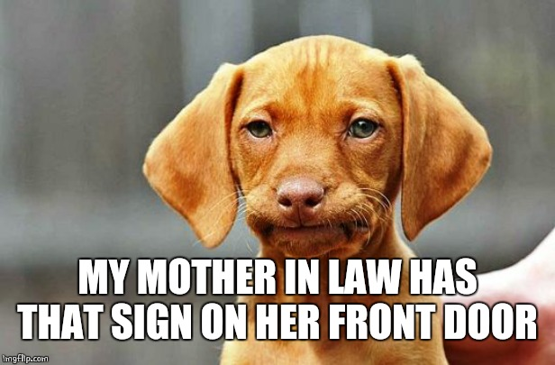 Frowning Dog | MY MOTHER IN LAW HAS THAT SIGN ON HER FRONT DOOR | image tagged in frowning dog | made w/ Imgflip meme maker