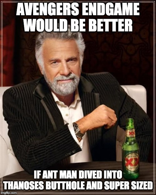 The Most Interesting Man In The World | AVENGERS ENDGAME WOULD BE BETTER IF ANT MAN DIVED INTO THANOSES BUTTHOLE AND SUPER SIZED | image tagged in memes,the most interesting man in the world | made w/ Imgflip meme maker
