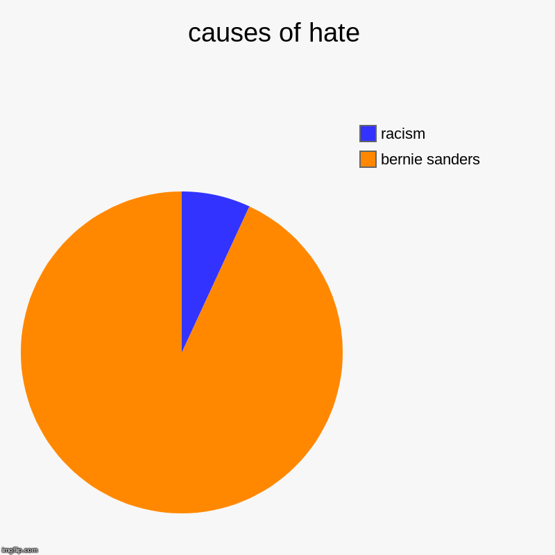 causes of hate | bernie sanders, racism | image tagged in charts,pie charts | made w/ Imgflip chart maker