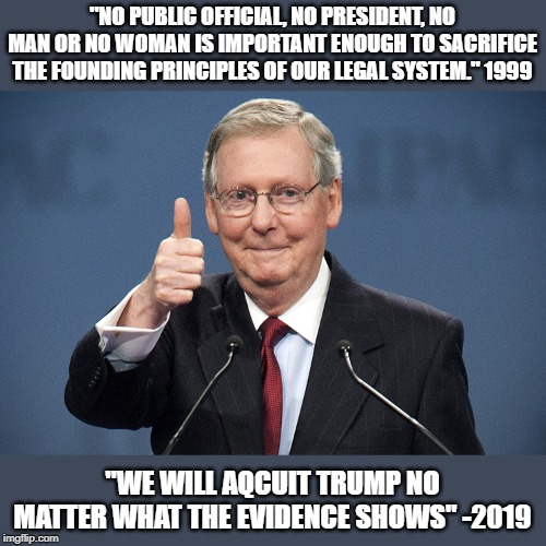 "The Hypocrisy and treason to the rule of law. The new GOP | ""NO PUBLIC OFFICIAL, NO PRESIDENT, NO MAN OR NO WOMAN IS IMPORTANT ENOUGH TO SACRIFICE THE FOUNDING PRINCIPLES OF OUR LEGAL SYSTEM."" 1999 ""W 