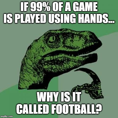 Handball, anyone? |  IF 99% OF A GAME IS PLAYED USING HANDS... WHY IS IT CALLED FOOTBALL? | image tagged in memes,philosoraptor,football,soccer | made w/ Imgflip meme maker