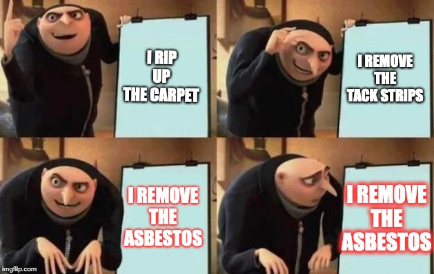 Gru's Plan |  I RIP UP THE CARPET; I REMOVE THE TACK STRIPS; I REMOVE THE ASBESTOS; I REMOVE THE ASBESTOS | image tagged in gru's plan | made w/ Imgflip meme maker