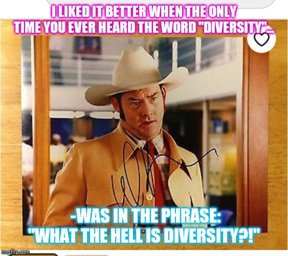 "Celebrate Diversity | I LIKED IT BETTER WHEN THE ONLY TIME YOU EVER HEARD THE WORD ""DIVERSITY""... -WAS IN THE PHRASE: ""WHAT THE HELL IS DIVERSITY?!"" 