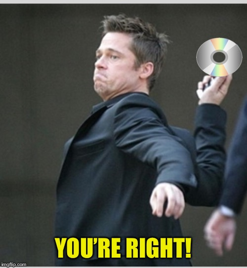 Brad Pitt throwing phone | YOU'RE RIGHT! | image tagged in brad pitt throwing phone | made w/ Imgflip meme maker