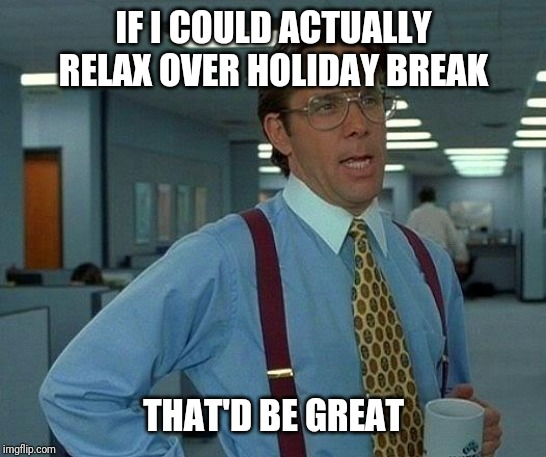 Vacation |  IF I COULD ACTUALLY RELAX OVER HOLIDAY BREAK; THAT'D BE GREAT | image tagged in that would be great,vacation,christmas,break,relax,rest | made w/ Imgflip meme maker