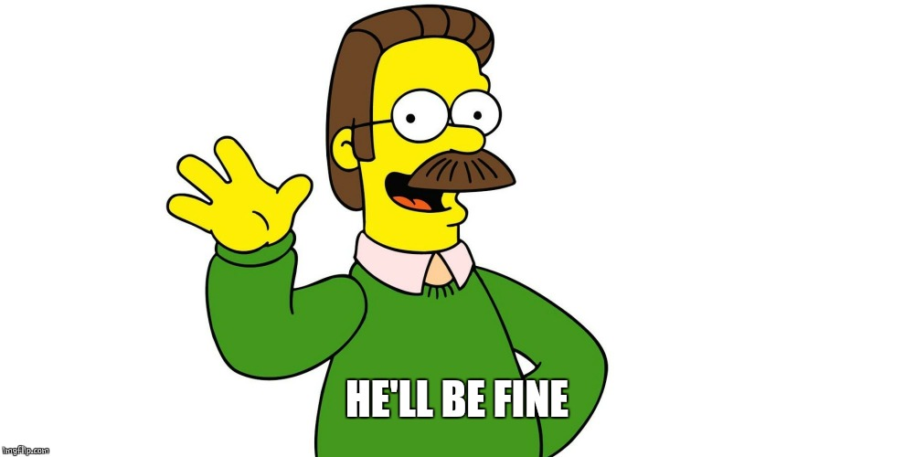 Ned Flanders Wave | HE'LL BE FINE | image tagged in ned flanders wave | made w/ Imgflip meme maker