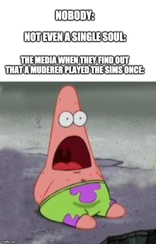 Suprised Patrick | NOBODY: THE MEDIA WHEN THEY FIND OUT THAT A MUDERER PLAYED THE SIMS ONCE: NOT EVEN A SINGLE SOUL: | image tagged in suprised patrick | made w/ Imgflip meme maker