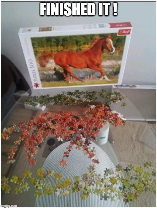 FINISHED IT ! | image tagged in jigsaw,horse | made w/ Imgflip meme maker