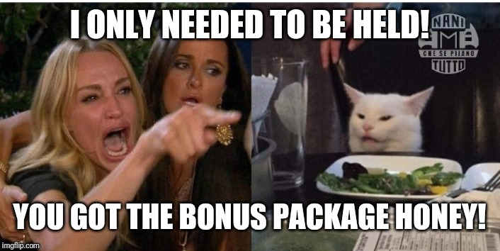 white cat table |  I ONLY NEEDED TO BE HELD! YOU GOT THE BONUS PACKAGE HONEY! | image tagged in white cat table | made w/ Imgflip meme maker