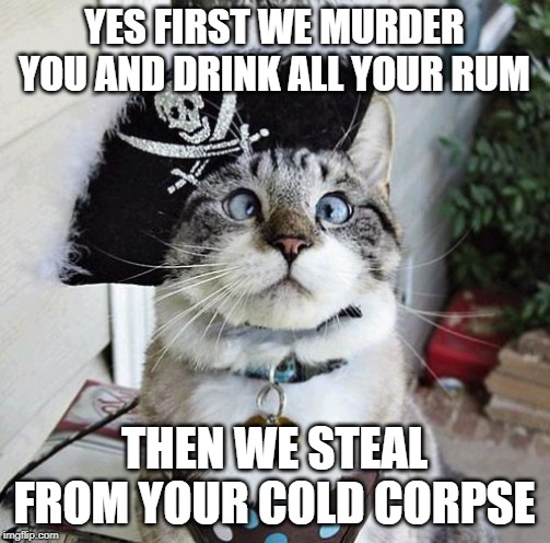Spangles Meme | YES FIRST WE MURDER YOU AND DRINK ALL YOUR RUM THEN WE STEAL FROM YOUR COLD CORPSE | image tagged in memes,spangles | made w/ Imgflip meme maker