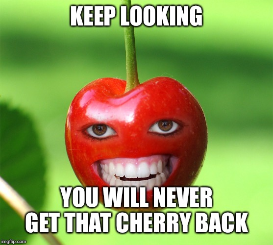cherry | KEEP LOOKING YOU WILL NEVER GET THAT CHERRY BACK | image tagged in cherry | made w/ Imgflip meme maker