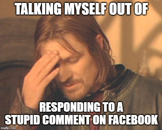 Frustrated Boromir |  TALKING MYSELF OUT OF; RESPONDING TO A STUPID COMMENT ON FACEBOOK | image tagged in memes,frustrated boromir | made w/ Imgflip meme maker