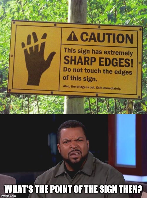 Why does this sign even exist? | WHAT'S THE POINT OF THE SIGN THEN? | image tagged in really ice cube,funny signs,stupidity,missed the point | made w/ Imgflip meme maker