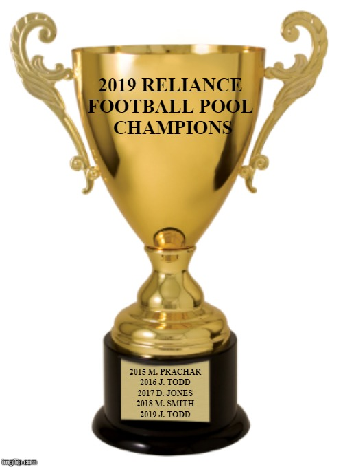 Trophy |  2019 RELIANCE  FOOTBALL POOL  CHAMPIONS; 2015 M. PRACHAR 2016 J. TODD 2017 D. JONES 2018 M. SMITH 2019 J. TODD | image tagged in trophy | made w/ Imgflip meme maker