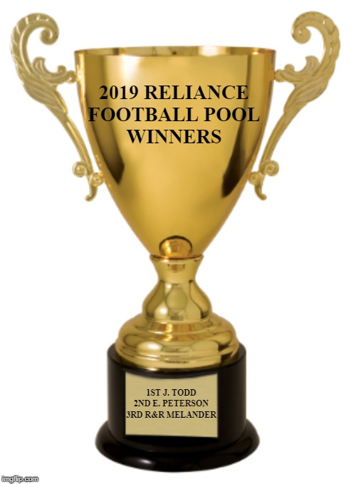 Trophy |  2019 RELIANCE FOOTBALL POOL WINNERS; 1ST J. TODD 2ND E. PETERSON 3RD R&R MELANDER | image tagged in trophy | made w/ Imgflip meme maker