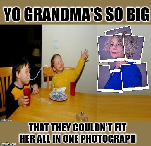 Yo mama's mama | YO GRANDMA'S SO BIG THAT THEY COULDN'T FIT HER ALL IN ONE PHOTOGRAPH | image tagged in memes,funny memes,yo mamas so fat,yo mama,yo grandma,big | made w/ Imgflip meme maker