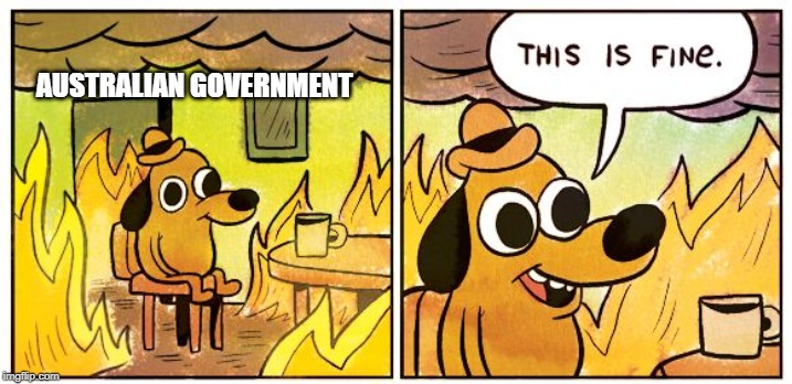 This Is Fine |  AUSTRALIAN GOVERNMENT | image tagged in this is fine dog | made w/ Imgflip meme maker