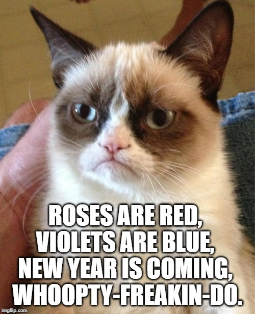 Grumpiness is 2020 | ROSES ARE RED,  VIOLETS ARE BLUE,  NEW YEAR IS COMING,  WHOOPTY-FREAKIN-DO. | image tagged in grump cat,happy new year,new years,new year resolutions | made w/ Imgflip meme maker