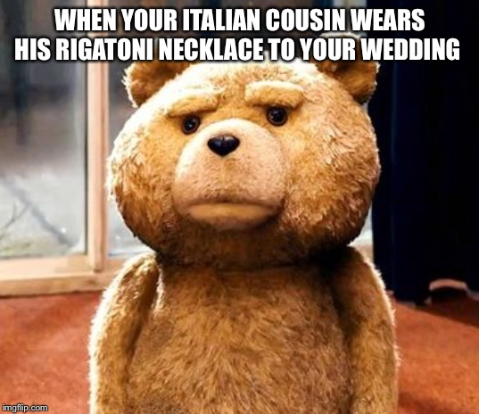 TED |  WHEN YOUR ITALIAN COUSIN WEARS HIS RIGATONI NECKLACE TO YOUR WEDDING | image tagged in memes,ted | made w/ Imgflip meme maker