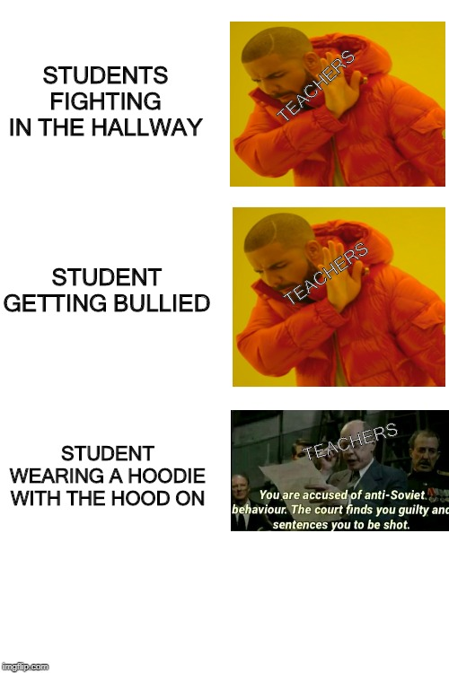 blank white template | STUDENTS FIGHTING IN THE HALLWAY STUDENT WEARING A HOODIE WITH THE HOOD ON STUDENT GETTING BULLIED TEACHERS TEACHERS TEACHERS | image tagged in blank white template | made w/ Imgflip meme maker