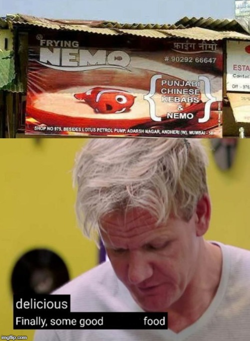 Frying Nemo | image tagged in finding nemo,memes,fry,delicious,good,food | made w/ Imgflip meme maker