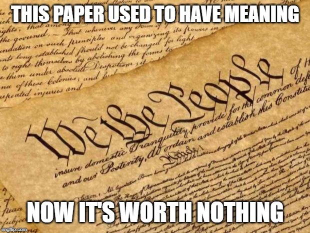 THIS PAPER USED TO HAVE MEANING NOW IT'S WORTH NOTHING | image tagged in constitution | made w/ Imgflip meme maker