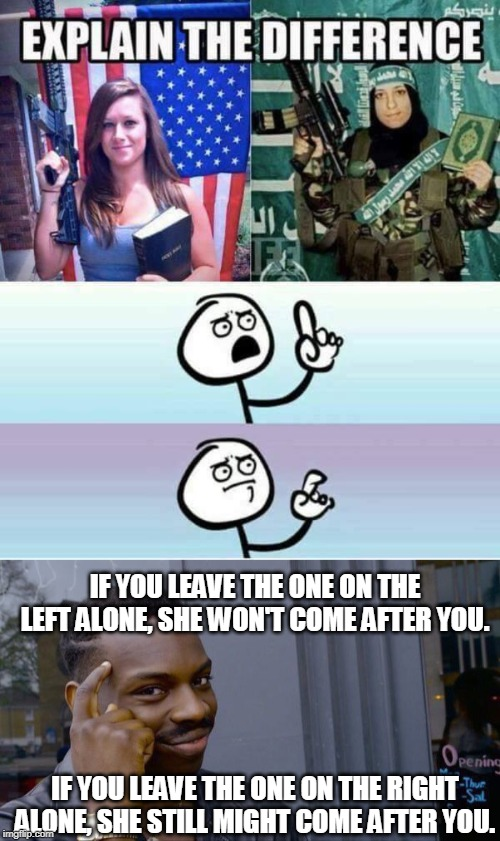 Different Ideologies |  IF YOU LEAVE THE ONE ON THE LEFT ALONE, SHE WON'T COME AFTER YOU. IF YOU LEAVE THE ONE ON THE RIGHT ALONE, SHE STILL MIGHT COME AFTER YOU. | image tagged in muslims,christians,second amendment,bible,koran,terrorism | made w/ Imgflip meme maker